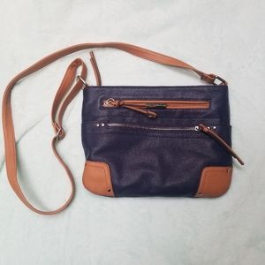 Rosetti Blue and Brown Crossbody purse